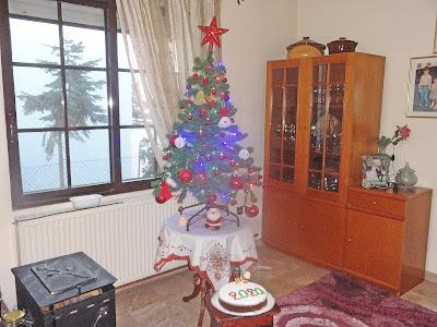 Χριστουγεννιάτικο δένδρο στολισμενο δίπλα σε ενα παραθυρο,εχει μονο κοκκινες μπαλες το δενδρο