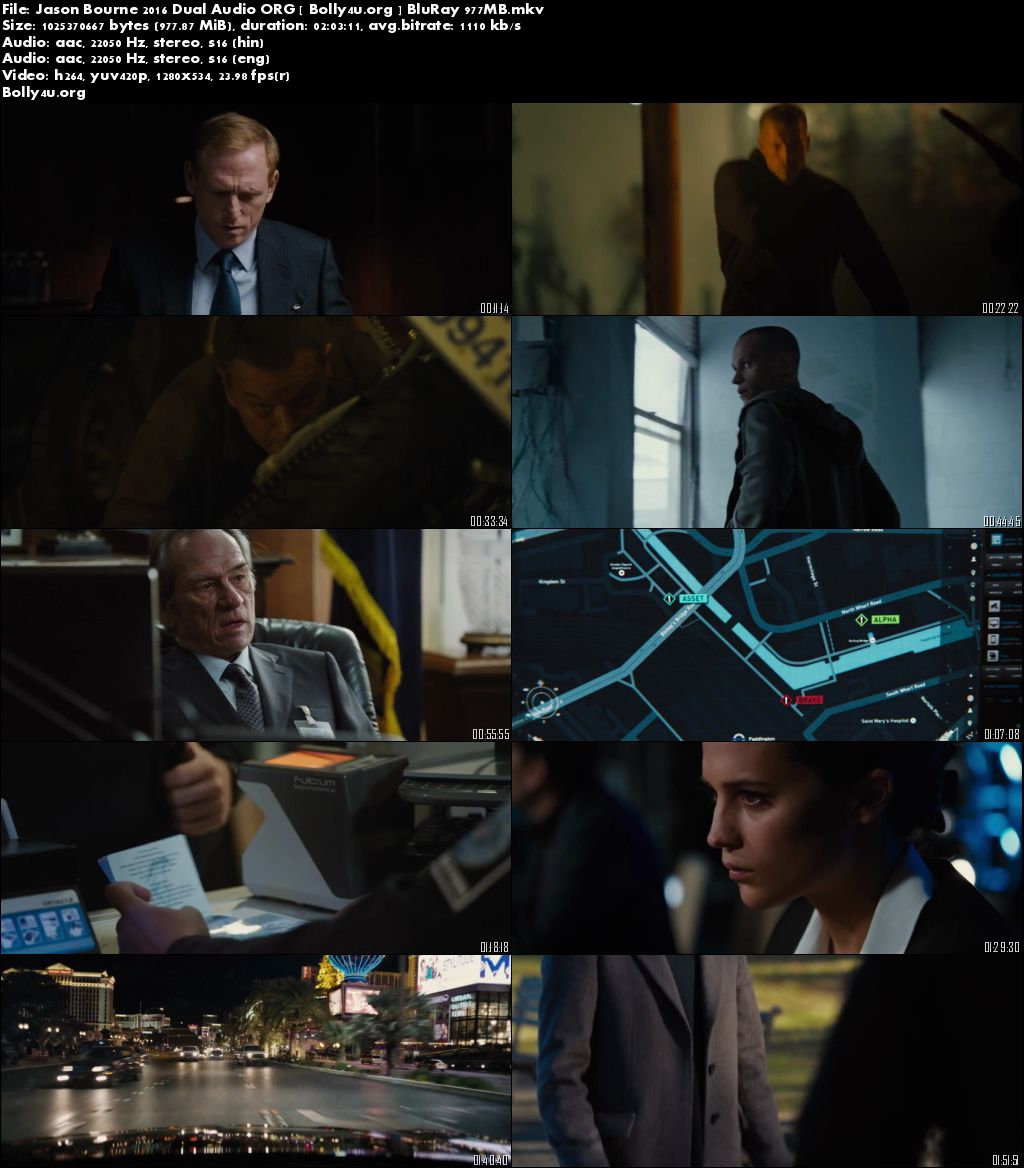 Jason Bourne 2016 BluRay Hindi 720p Dual Audio ORG 950MB Download