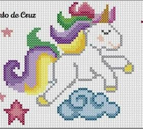 unicorno -Mini motivi  a punto croce per neonati