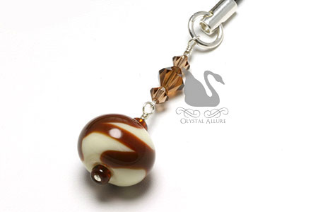 Mocha Latte Crystal Lampwork Bead Charm Pull (CPC011)