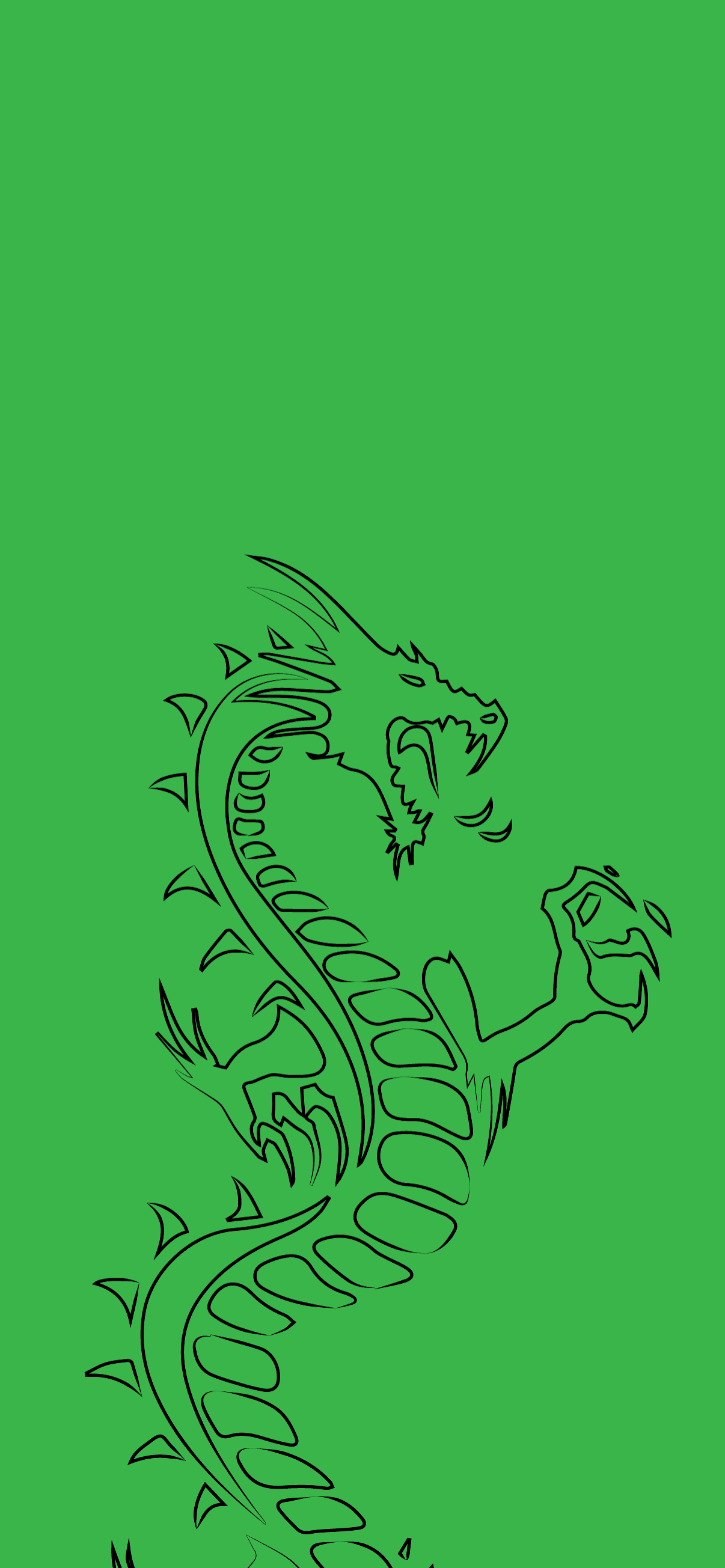 dragon silhouette in green background hd for mobile phone