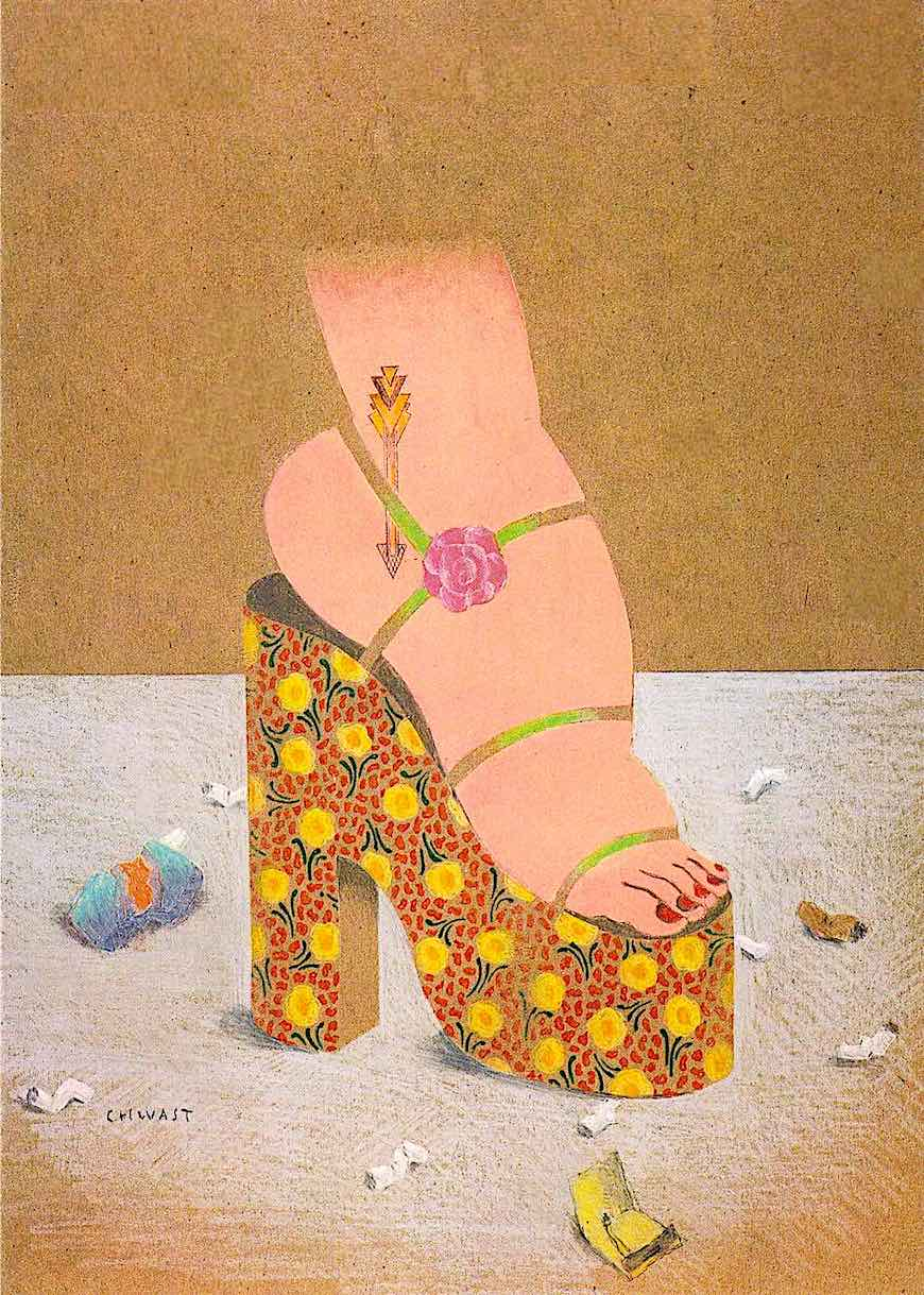 a 1970s Seymour Chwast illustration of a woman's platform shoe