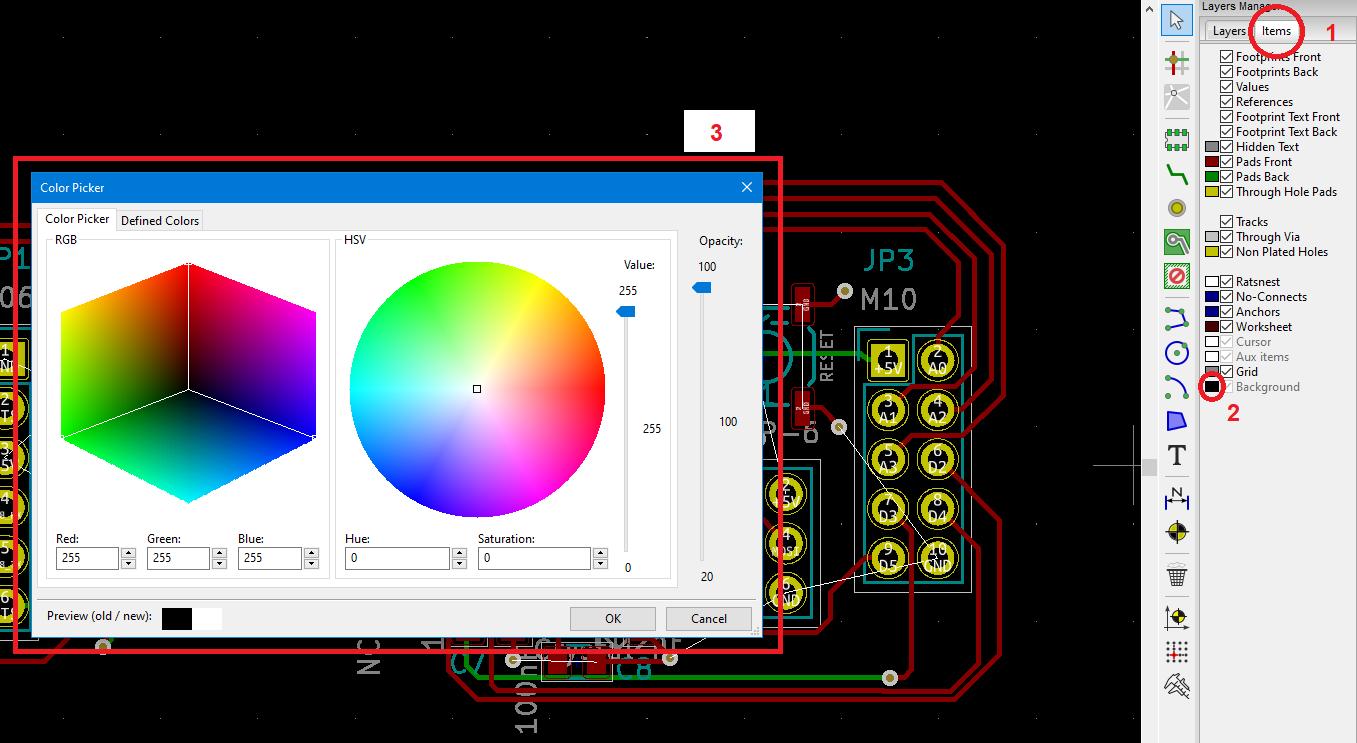 Kicad Change Background Color PCB Layout Kicad