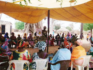 Women of Soudiane Balla share their knowledge of the CEP with women from neighboring communities. In this photo, a woman explains the right to health care.