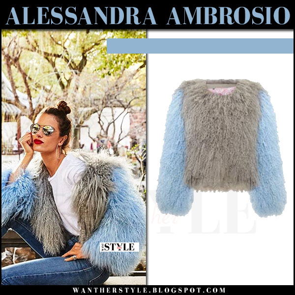Alessandra Ambrosio in light blue and grey fuzzy jacket charlotte simone what she wore model style