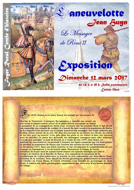 """LANEUVELOTTE (54) - Exposition """"Jean Huyn le messager de René II, la Bataille de Nancy et René II"""" (12 mars 2017)"""