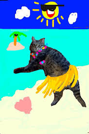 Funny beach cat animal snapchat joke picture