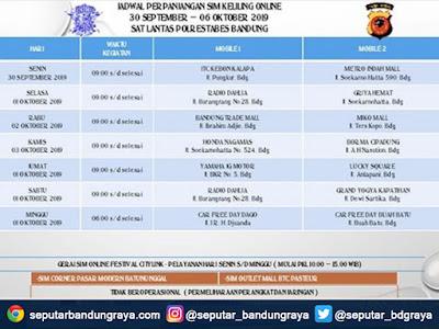 Jadwal SIM Keliling Polrestabes Bandung Bulan Oktober 2019