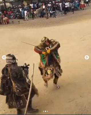 Masquerades Sing And Dance Gbese, Zanku And Gbe Body At Festival (VIDEO)
