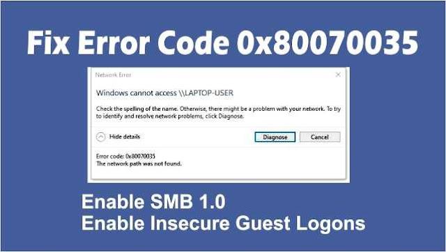 Mengatasi Error Code 0x80070035 Windows 10