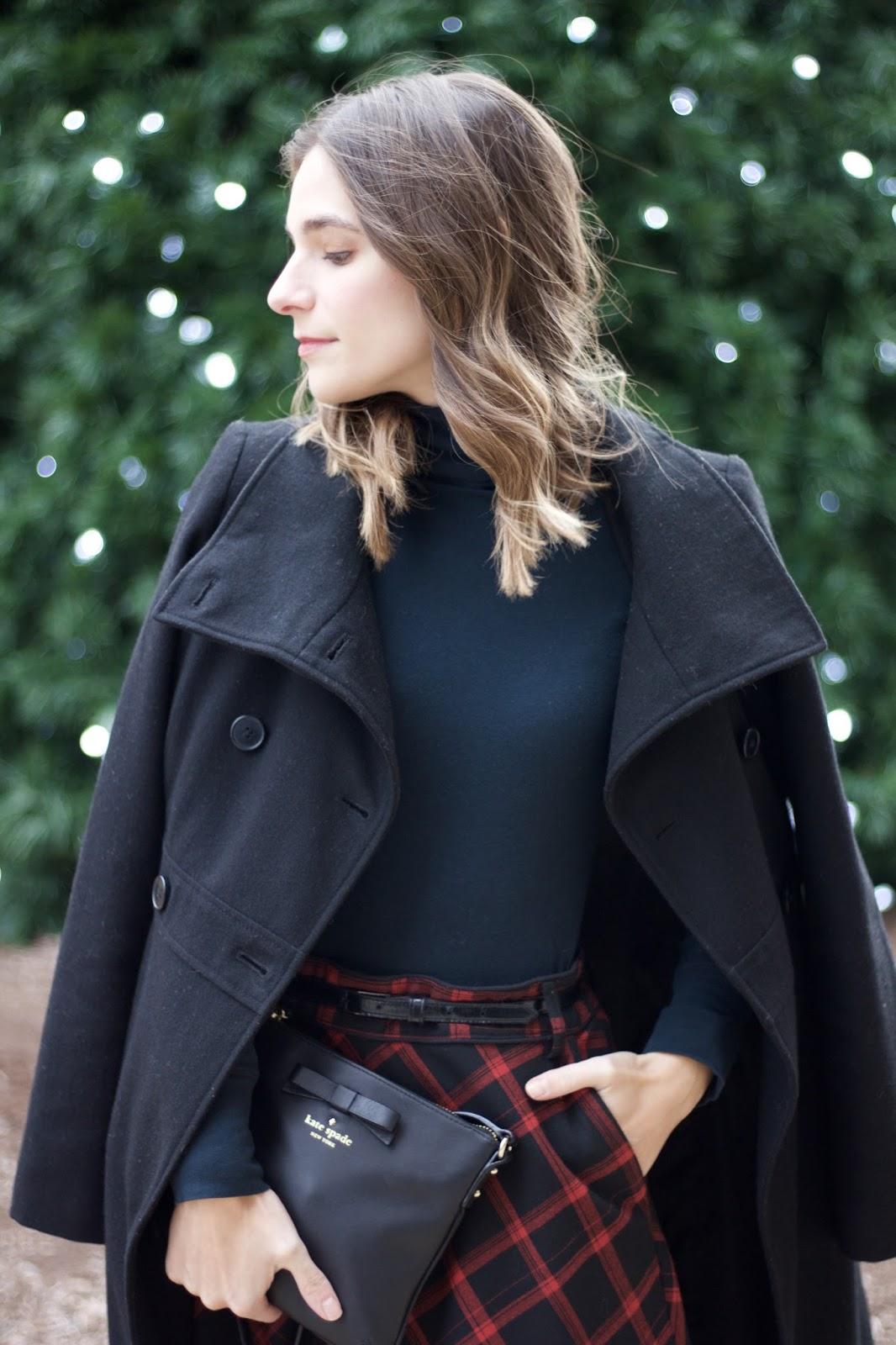 high waisted red buffalo check skirt