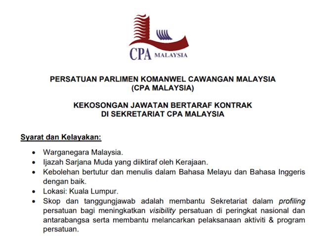 Jawatan Kosong Terkini di Parlimen Malaysia.