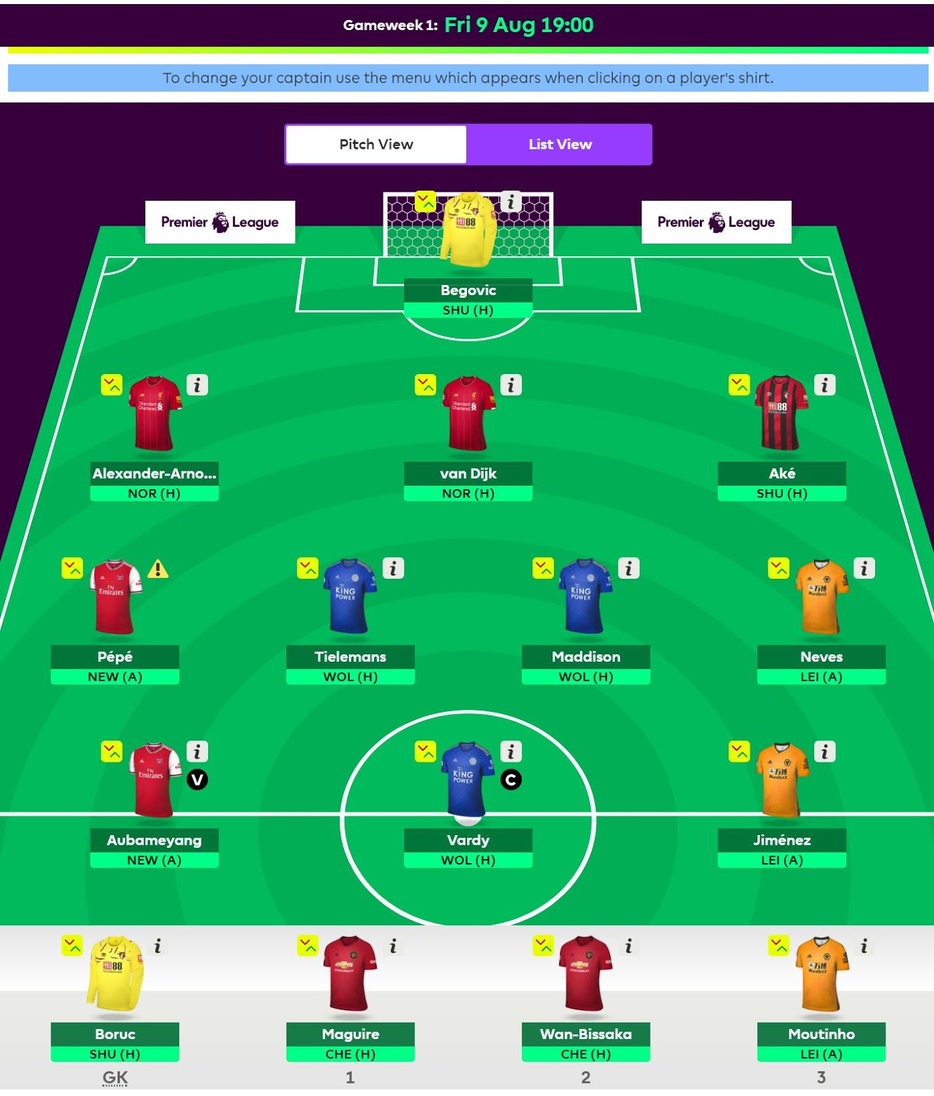 Fantasy Football Team, Week 1