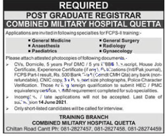 Combined Military Hospital Quetta Jobs 2021   CMH Quetta Jobs 2021