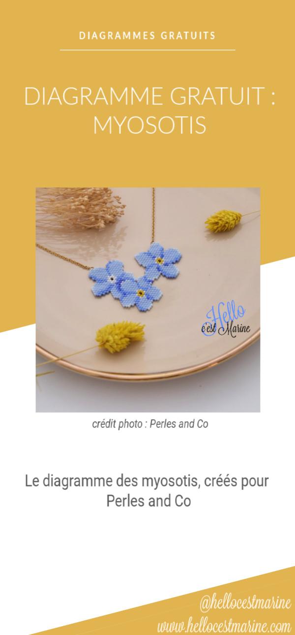 Diagramme gratuit de trois myosotis à tisser en perles Miyuki par Hello c'est Marine