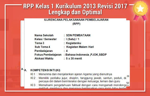 RPP Kelas 1 Kurikulum 2013 Revisi 2017 Lengkap dan Optimal