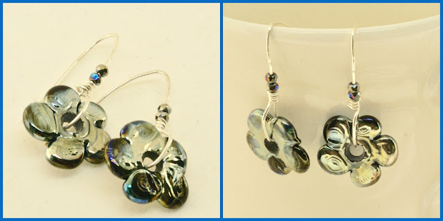 navy blue floral earrings by BayMoonDesign