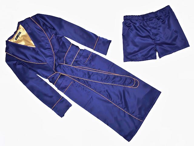 mens dark blue silk dressing gown robe boxer shorts smoking jacket pajamas set
