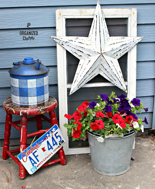 Patriotic Junk Garden Vignette organizedclutter.net