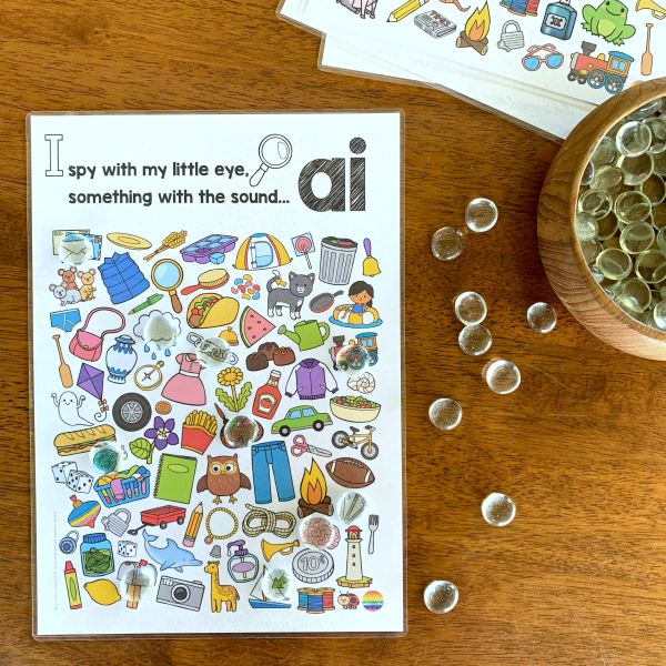 Printable Digraph Activities AI - sound mazes in colour and black and white plus I Spy game | you clever monkey