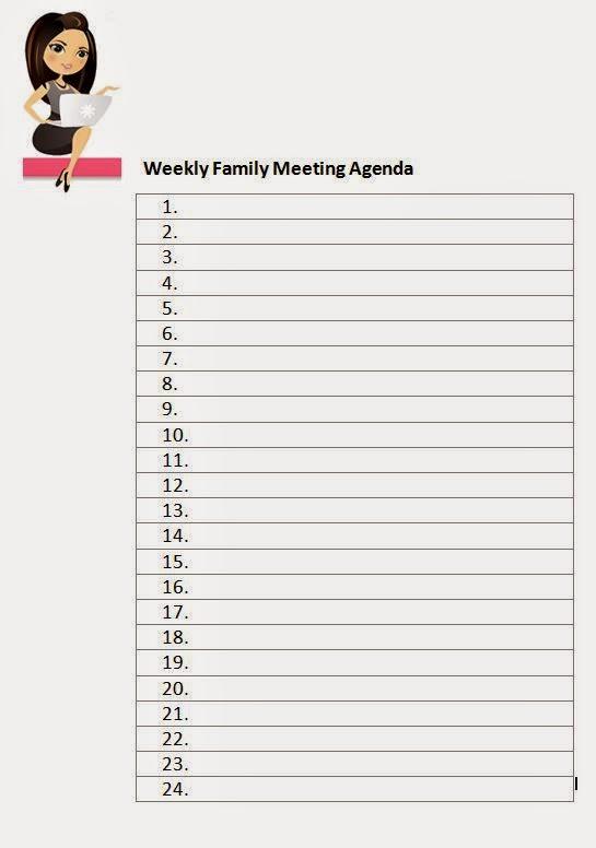 Family FECS Weekly Family Meeting Agenda Template - family agenda