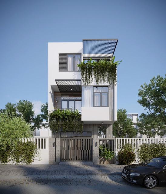 Hình phối cảnh thiết kế nhà phố 6,2 x 8,5 mét