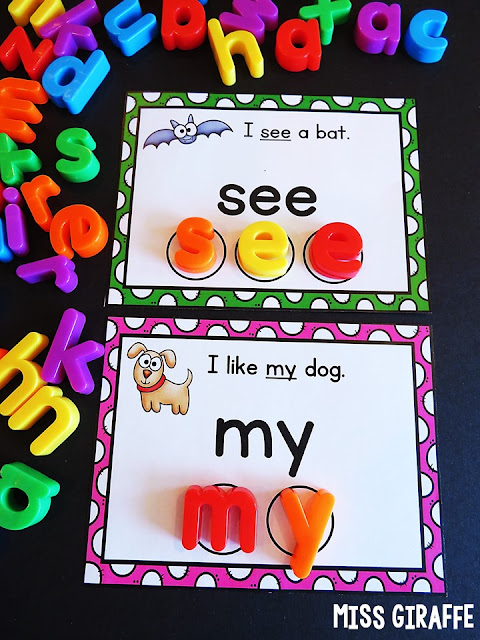 Sight words activities for kindergarten first grade or even second grade that use adorable pictures AND easy simple sentences to make learning sight words a lot of fun!