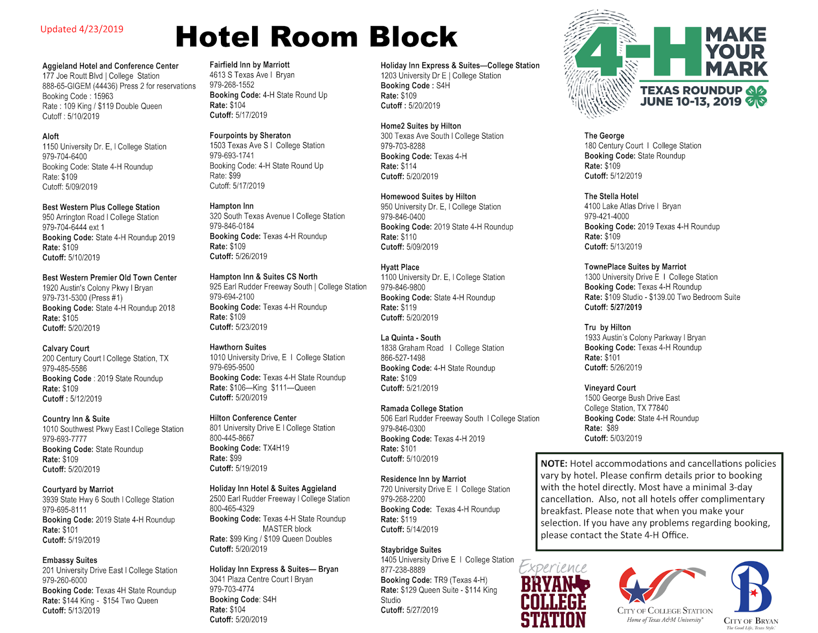 Texas 4-H Roundup: Hotel Room Block