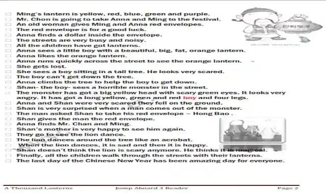 مذكرة اسئلة واجابات على قصة 1000 فانوس او 1000 lanterns المقررة على منهج Jump Aboard ملزمة تدريبات وتمارين على قصة  1000 فانوس او 1000 lanterns