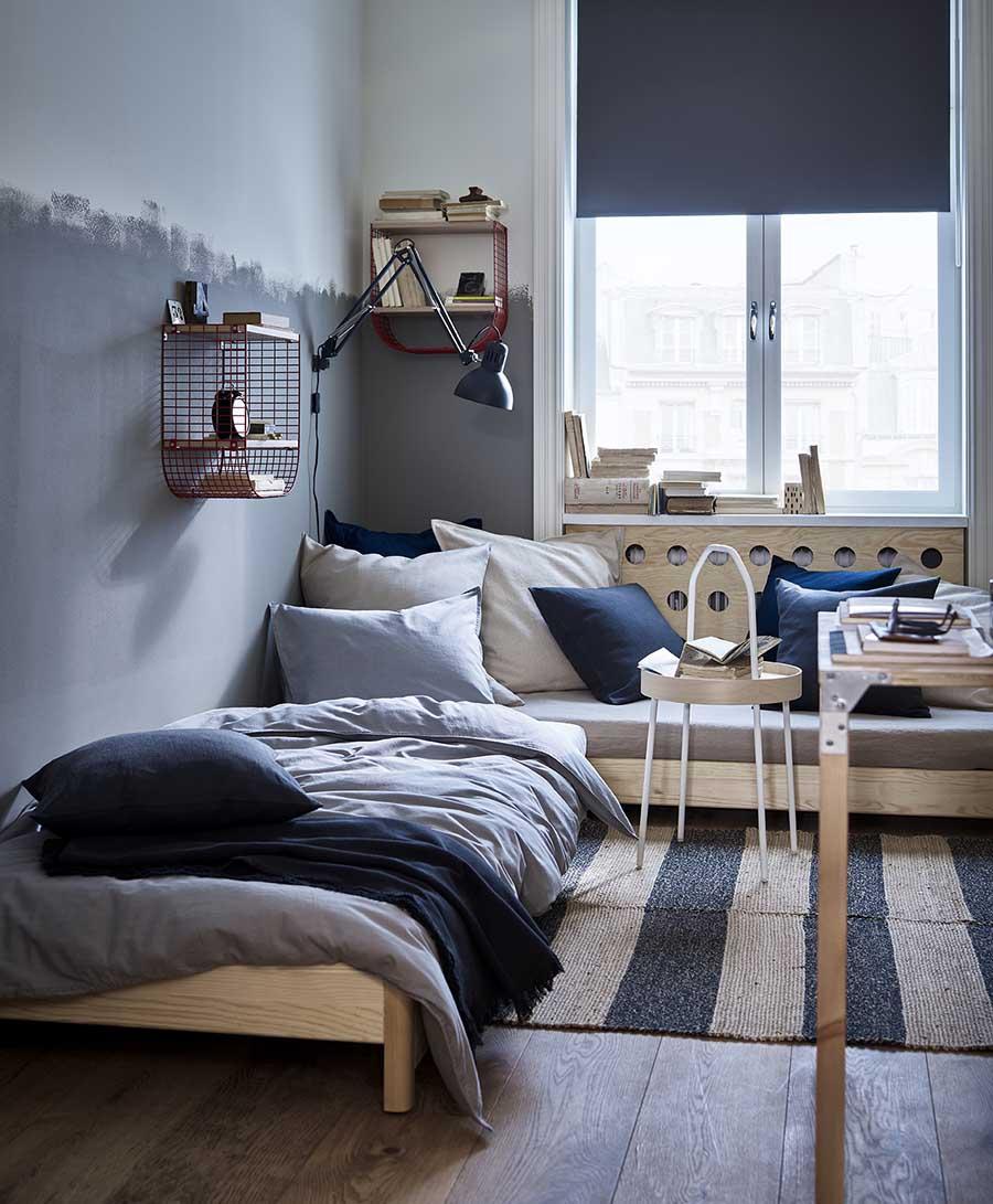 catálogo ikea 2020 dormitorio tonos grises estilo nórdico estructura cama de madera