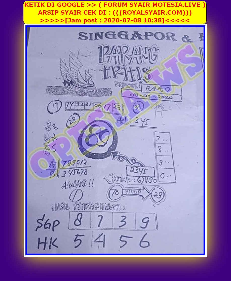 Kode syair Singapore Rabu 8 Juli 2020 53