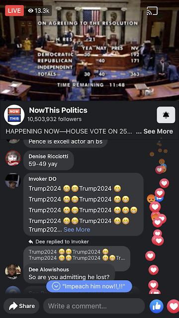 """Still shot of a Now This Politics video from January 12 showing the House voting on 25th Ammendment, with one commenter typing """"Trump 2024"""" over and over"""