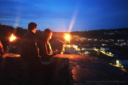 Bouillon Castle Torchlight tour at night