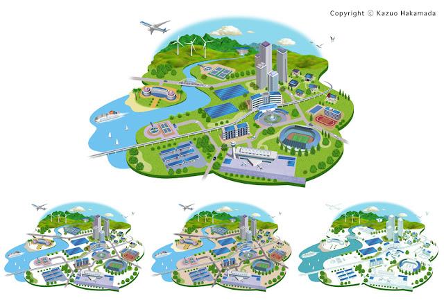太陽光発電の都市(街並み)イラスト