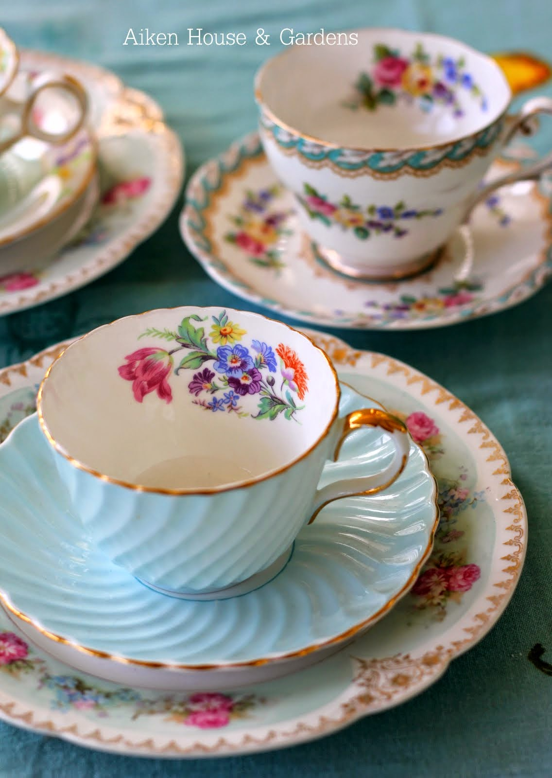 High Tea Time Blue Tea China Cup and Saucer with Gold Rim