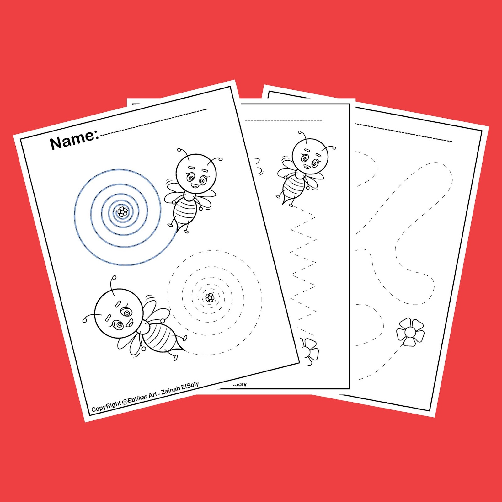 Fine Motor Bee Activities Preschool Tracing Worksheets