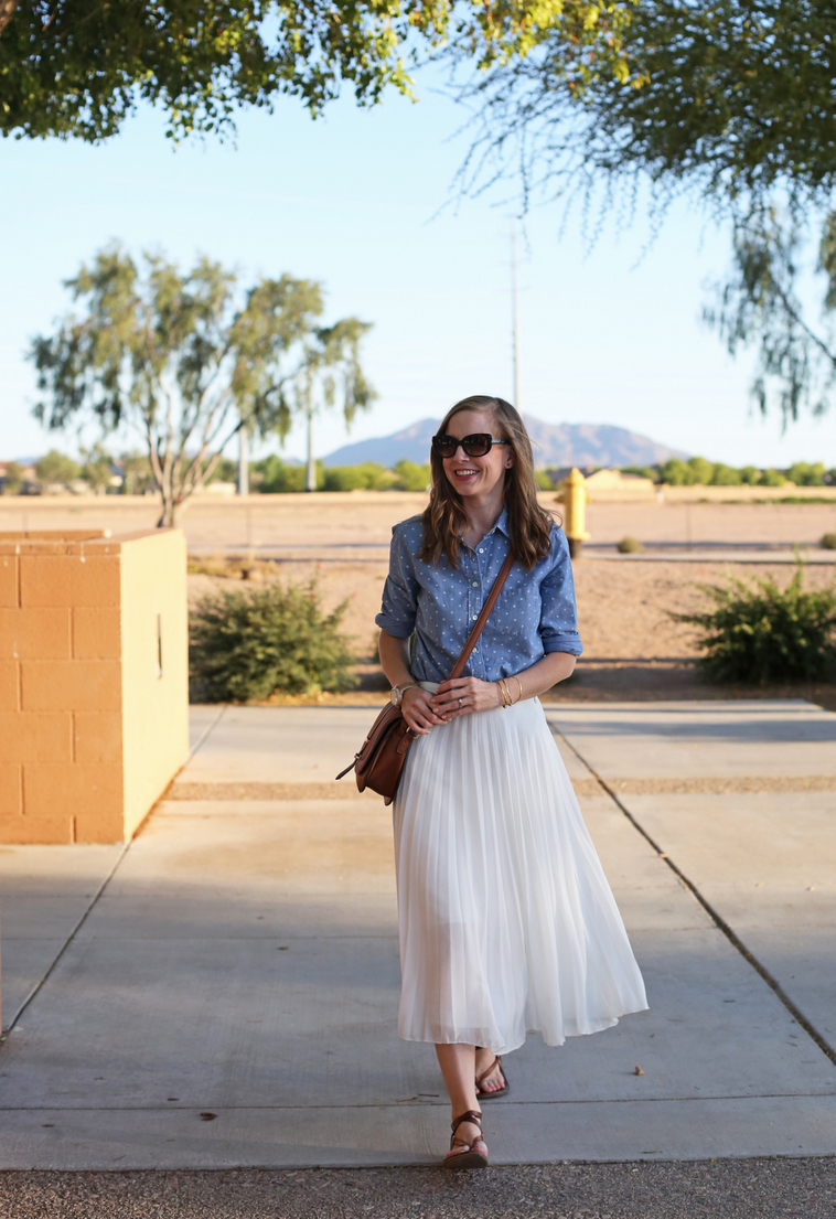 Patterned chambray top for easy summer dressing