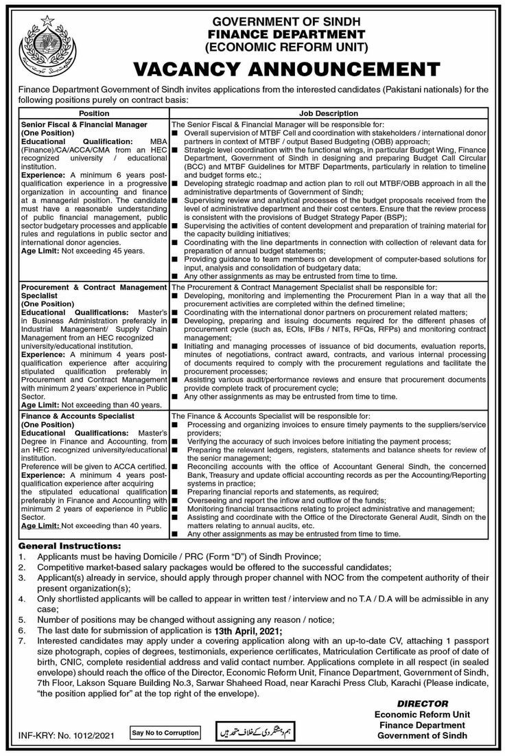 Finance Department Government Of Sindh Jobs 2021 For Senior Fiscal Manager, Accounts Specialist & more