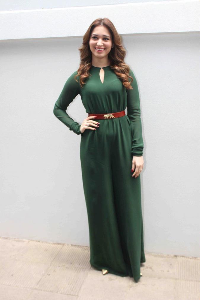 Tamannaah Bhatia Stills In Green Dress Nishka Lullas Wedding Brunch Party