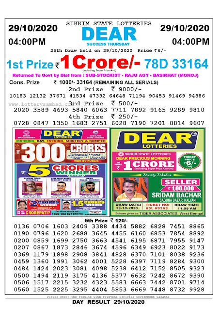 Sikkim State Lottery Result 29-10-2020, Sambad Lottery, Lottery Sambad Result 4 pm, Lottery Sambad Today Result 4 00 pm, Lottery Sambad Old Result