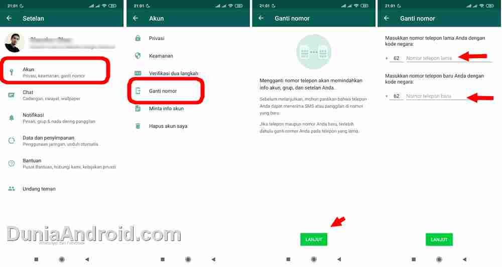 menu pengaturan ubah nomor WhatsApp