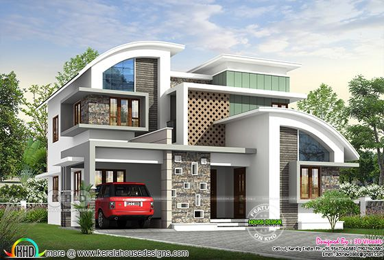 Ultra modern 4 bedroom attached house architecture rendering