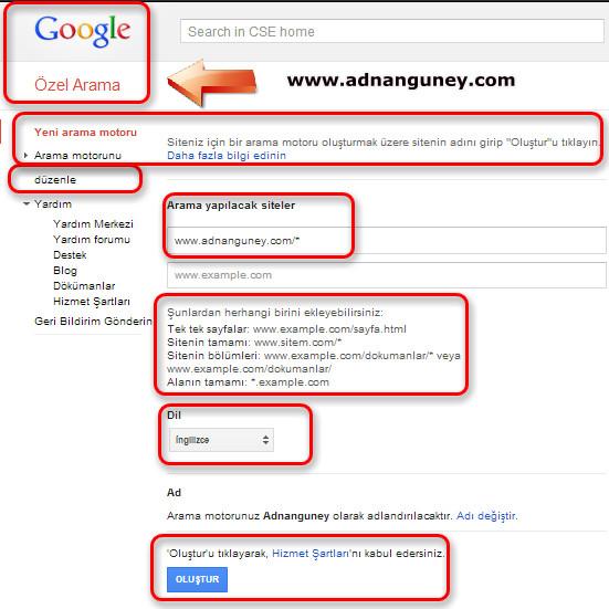 Google özel arama motoru kodu nasıl alınır