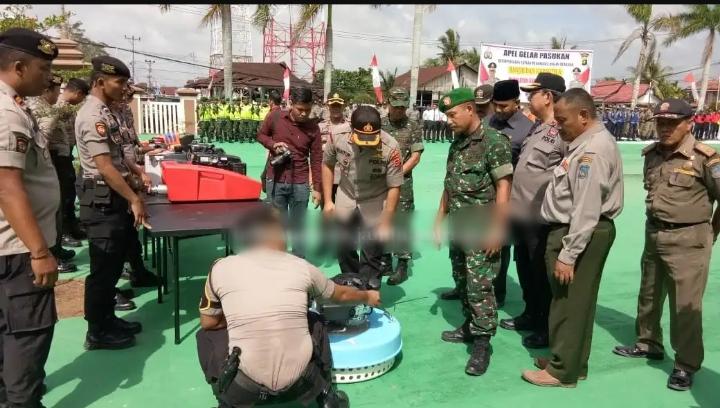 Apel Gelar Pasukan Kesiapsiagaan Tim Satgas Penanggulangan Bencana, Dilaksanakan Oleh Polres Tanjab Barat