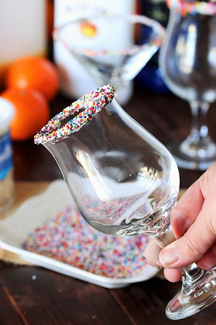 Cocktail Glass with Non-Pareils Sprinkles Rim Image