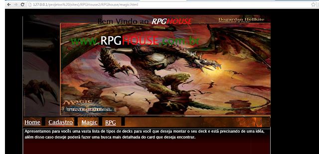Primeira versão do Help RPG que de início era chamado de RPGhouse - Setembro de 2011.
