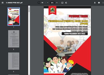 Petunjuk Teknis (Juknis) Pelaksanaan PPDB Online untuk SMA Negeri dan SMK Negeri Provinsi Jawa Tengah Tahun Pelajaran 2021/2022