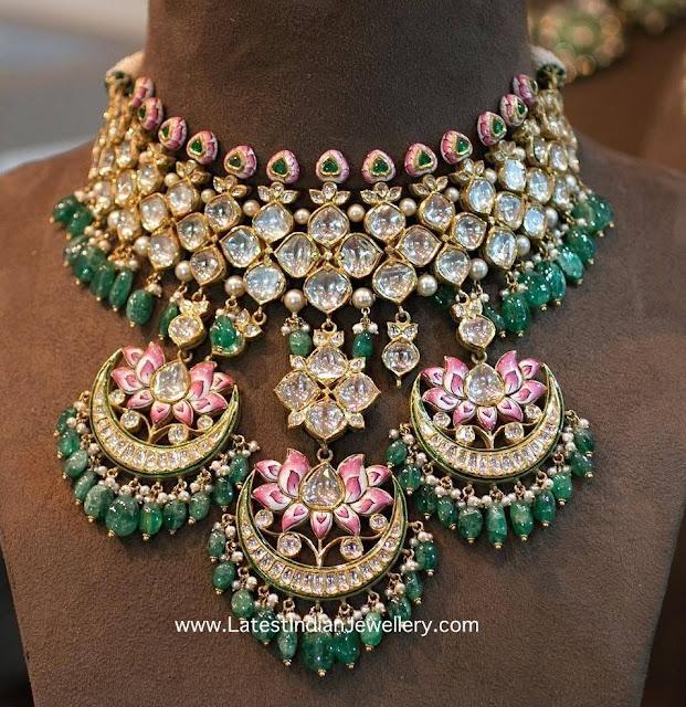 Lotus Meenakari Jadau Necklace