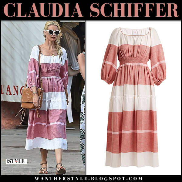 Claudia Schiffer in striped pink white midi dress summer style august 19