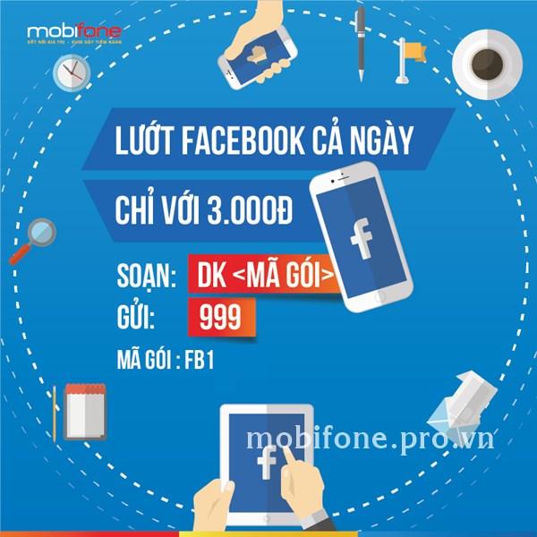 Lướt Facebook không giới hạn 01 ngày cùng gói FB1 Mobifone